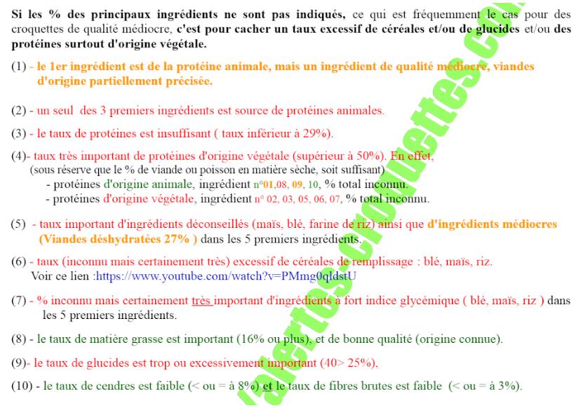 L'analyse de la liste de croquettes toxiques faite par M. Gilles Vouillon sur les croquettes CROQ' la Vie